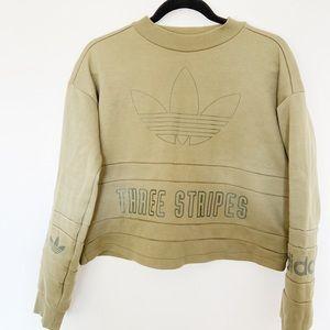 NWT Adidas Olive Green Cop Sweater Three Stripe L